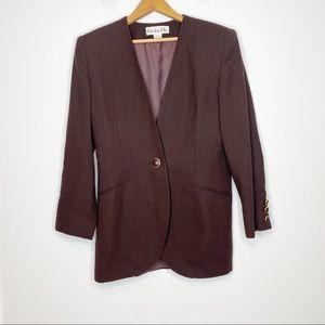 Vintage Christian Dior Brown Wool Oversized Blazer